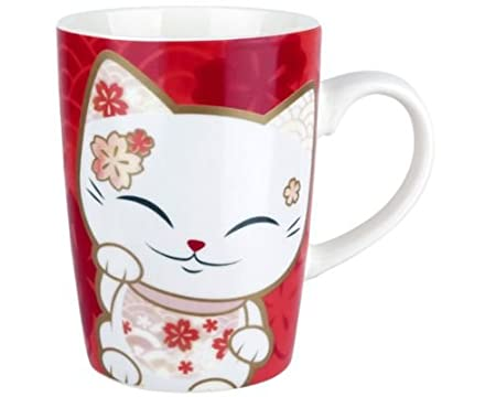 Mani The Lucky Cat Ceramic Mug Licensed Collectible Design Coffee Tea Beverage 12 fl oz Tall Pink