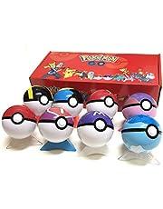 8 St / Set Pokeball Pokémon-leksakbollar 7 cm, varje Pokeball-boll kommer med en mini-Pokémon-modellleksak, en favoritfödelsedagspresent för barn