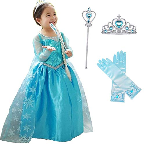 Snow Queen Princess Girls Dress Party Carnival Long Tail Cosplay Costume Size (100) 3-4 Years Blue -