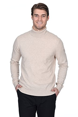 Sweater Cashmere Beige (State Fusio Men's Cashmere Wool Turtleneck Long Sleeve Pullover Sweater Premium Quality)