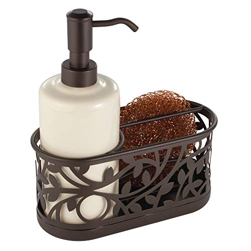 "Vine Ceramic Soap Pump with Caddy, Dispenser with Storage Compartment for Scrubbers, Sponges, Brushes, for Bathroom, Kitchen Countertops, Sinks, 7.25"" x 3.25"" x 8.25"", Bronze"