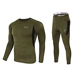 Outdoor Camping Warm Underwear Set,men's Sports Hike Ski Polartec Suits Quick Dry Slim Fit Thermal Johns Set (Bottom and Top)