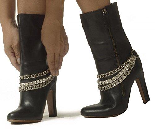 Sassy Strapps Women's Triple Chain & Rhinestone Boot Straps