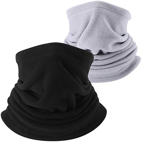 AXBXCX Neck Warmer Gaiter - Windproof Ski Mask - Cold Weather Face Motorcycle Mask Thermal Scarf Winter for Running Snowboarding Fishing Hunting Off-Roading Black + Gray 04