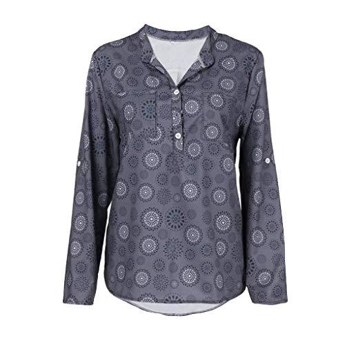 Automne Manches Chemisier Shirt Gris Femme Chemise Xinantime Longues et Hiver Taille Tops Femmes Imprimer Chemisier nbsp; Plus 4wFqOF0