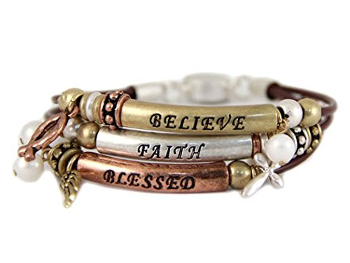 4030854 Faith Believe Blessed Strand Bracelet Beaded Knotted Cord Wrap Gift Present