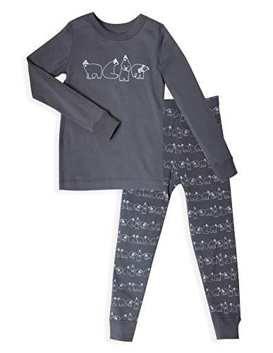 Boy's Polar Bear Long Sleeve Grey Pajamas Set - 100% Soft Organic Cotton Shirt Pants - for 12-18 Months