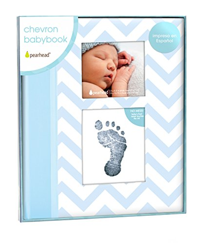 Pearhead Spanish Language Version Chevron Keepsake Baby Memory Book in Spanish with Clean Touch Ink Pad, Blue