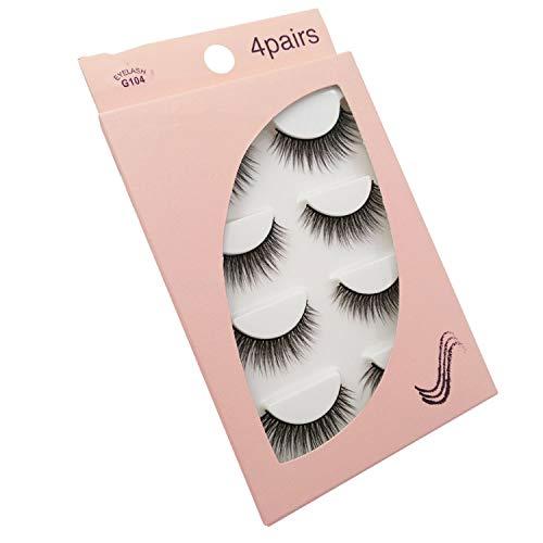 Natural long 3D Mink False Eyelashes wholesale 4 pairs Fluffy Make up Full Strip Lashes 3D Mink Lashes faux cils Soft Maquiagem,G104 ()