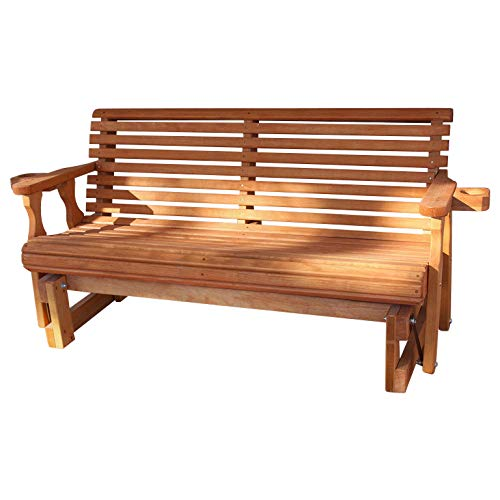 - Amish Heavy Duty 800 Lb Roll Back Pressure Treated Porch Glider with Cupholders (5 Foot, Cedar Stain)