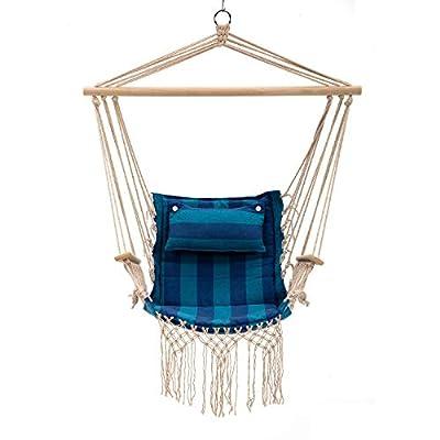 Bestmart Hanging Rope Quilted Hammock Chair Patio Cushion Seat Indoor/Outdoor Swing Chair (deep Bule): Industrial & Scientific