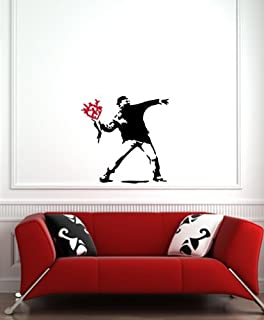 Molotov Guy With Flowers   Wall Vinyl Decal