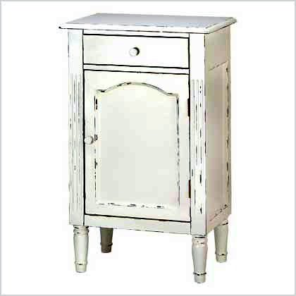 Antique White Wood Nightstand (Antiqued Distress White Finish Cabinet Table Nightstand)