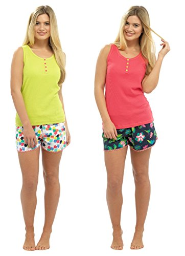 Verde donna da Set camice stampati e pantaloncini Gilet pigiama UTwqavgxx