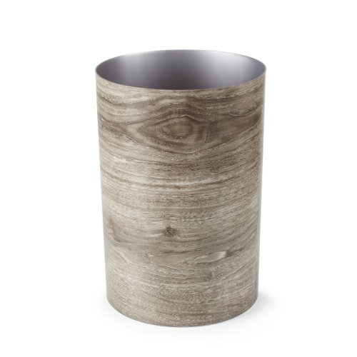 Umbra Treela Small Trash Can - Durable Garbage Can Waste Basket for Bathroom, Bedroom, Office and More | 4.75 Gallon Capacity with Stylish Barn Wood Exterior Finish