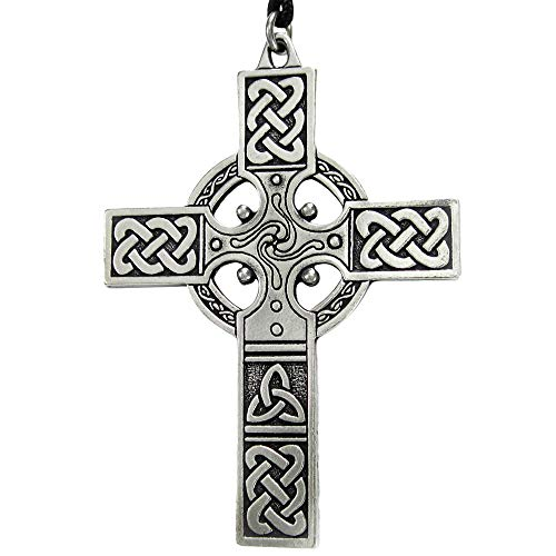 Pewter Large Celtic Knotwork Irish Cross Pendant ()
