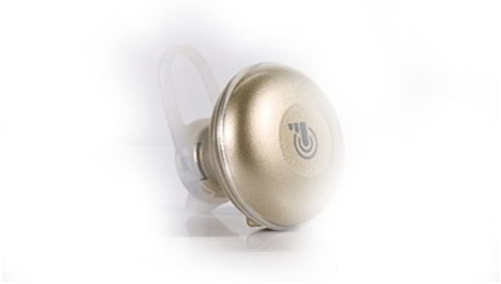 Bluetooth Wireless Touch Headset Earbud w/Voice Prompt. Elegant in-Ear Earphone with Mic for Hands-Free Calling, Secure Fit, 5 Hour Battery (Gold)