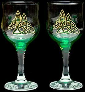 Pair Of Wine Glasses In A Green Celtic Eternity Knot Design