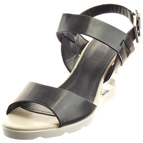 Sopily - Zapatillas de Moda Sandalias Abierto Zapatillas de plataforma Tobillo mujer Hebilla Líneas Talón Plataforma 8 CM - Negro