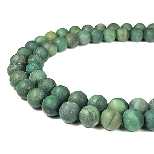 [ABCgems] Matte African Verdite AKA African Jade 8mm Smooth Round Beads for Beading & Jewelry Making
