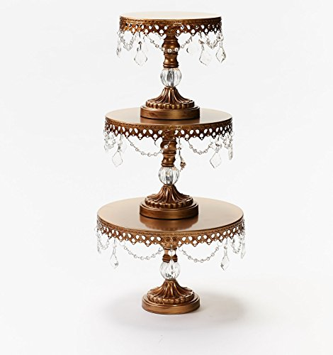 Opulent Treasures Chandelier Antique Gold Cake Stands (Set of 3) Metal, Round, Wedding Cake, Birthday Party Cupcake & Dessert Stands, with Faux Crystal Ball Pedestal (Faux Metal Ball)