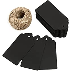 10cm X 5cm Price Tags, Kraft Paper Tags Gift Tags with Twine Craft Hang Tags for Arts and Crafts, Wedding Christmas Day Thanksgiving and Holiday, 100PCS