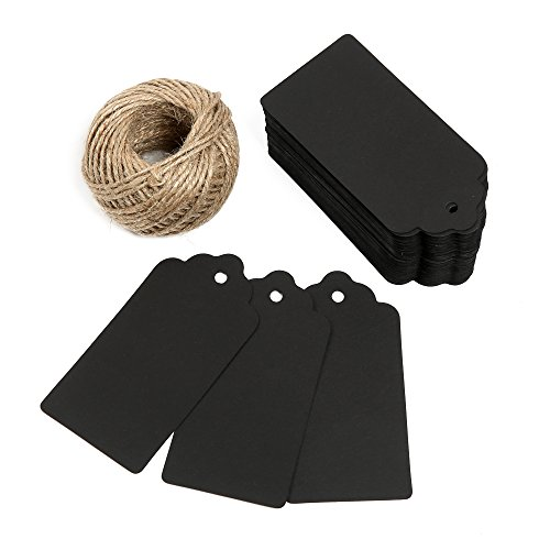 G2PLUS 100 PCS Black Paper Christmas Gift Tags with String, Thank You Gift Tags, Bonbonniere Favor Tag with 30 Meters Jute Twine for Crafts  Price Ta…