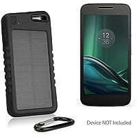 Motorola Moto G4 Play Battery, BoxWave [Solar Rejuva PowerPack (5000mAh)] Solar Powered Backup Power Bank for Motorola Moto G4 Play - Jet Black