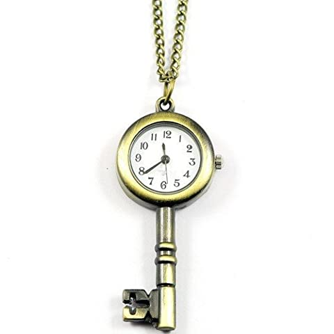 SODIAL(R) Antiqued Brass VINTAGE STYLE Skeleton Key LOCKET WATCH Pocket Watch NECKLACE - SODIAL Retail (Vintage Style Pocket Watch)