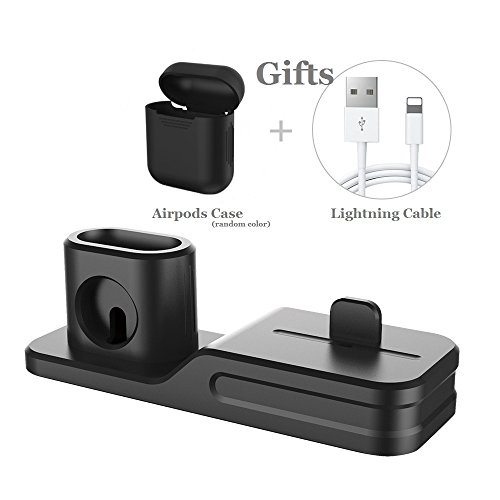 KEHANGDA 3 in 1 Charging Stand for iPhone AirPods Apple Watch Charger Dock Station Silicone,Support for Apple Watch Series 3/2/1/AirPods/iPhone X/8/8 Plus/7/7 Plus/6s Black by KEHANGDA (Image #1)