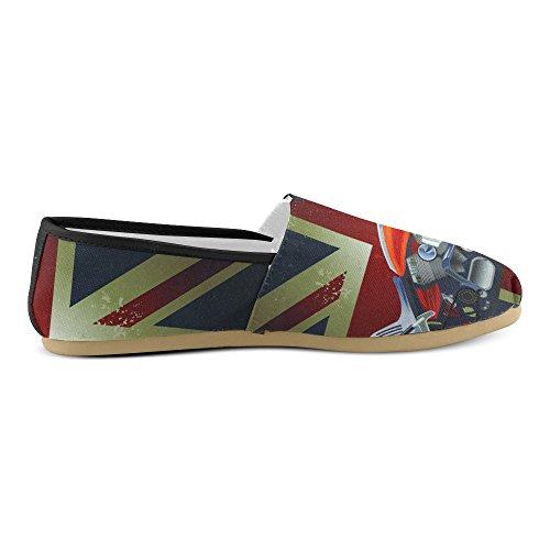 D-story Fashion Sneakers Flats Motorbike Y La Bandera De Estados Unidos Mujeres Classic Slip-on Canvas Zapatos Mocasines Motos Bandera Británica
