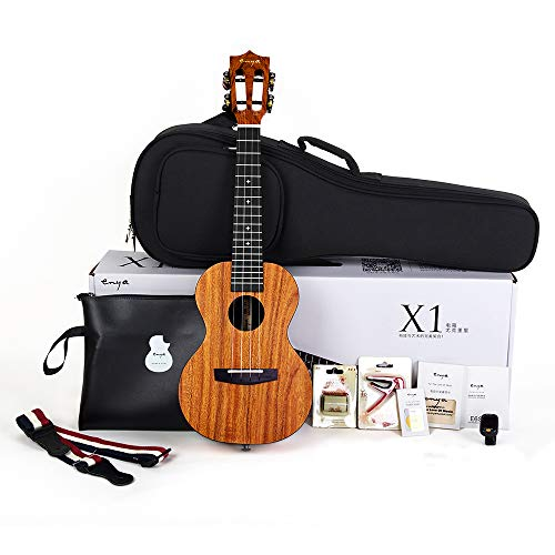 Enya Concert Ukulele 23 Inch,  Mahogany and  Ebony - With Starter Kit Includes Online Lessons, Case, Strap, Strings, Capo, Sand Shaker, Picks, Polish Cloth (EUC-X1)