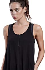 39b9fe098932a LYNX ACTIVE. Bestie Athletic Tank Top for Women with Zipper and Mesh  Racerback Tshirt