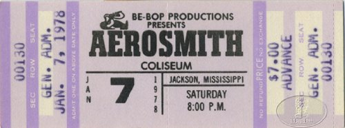 Aerosmith 1978 Bootleg Tour Unused Concert Ticket