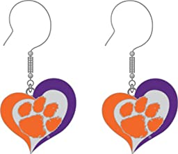NCAA Clemson Tigers Swirl Heart Dangle Logo Earring Set, Team Color, One Size
