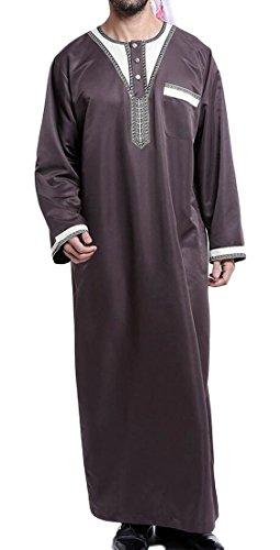 Pivaconis Mens Thobe Muslim Robe Arabia Big and Tall Long Sleeve Top Caftan Shirts Coffee M by Pivaconis