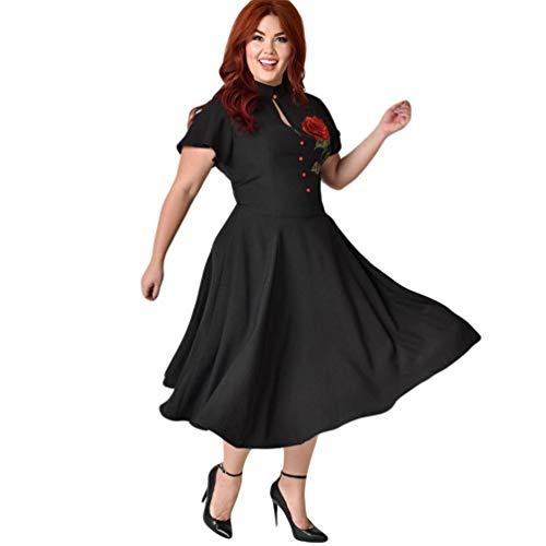 Negro Vestido Tallas de Vestidos Impresión Xinwcang Vintage Mujer Grandes Estampado Noche la Manga Corta Elegant de 7wwZvqFS