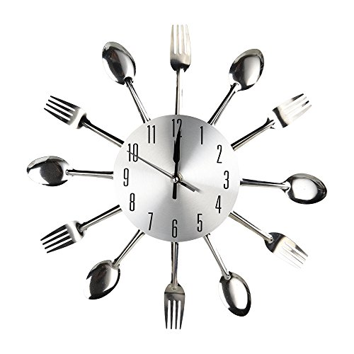 Modern Design Metal Cutlery Kitchen Utensil Style Clock Spoon Fork Wall Clock