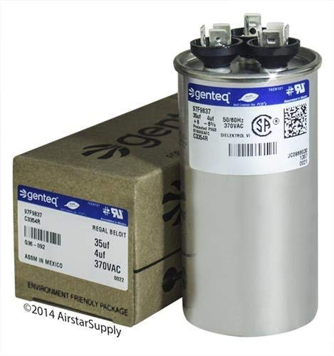 Replaces Lennox Capacitor - GE Capacitor round 35/4 uf MFD 370 volt 97F9837, 35 + 4 MFD at 370 volts