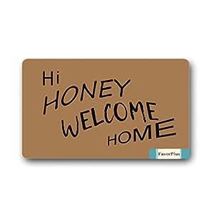 Hi Honey Welcome Home Custom Indoor/Outdoor Decor Rug Doormat 30(L)X18(W) Inch Non-Slip Home Decor