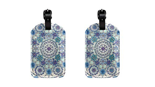 Qinghua Porcelain Pattern 1 PU Leather Luggage Tag For Trunk suitcase backpack,Adjustable Leather Strap Anti-scratch Tags,fashion Design pack of 2