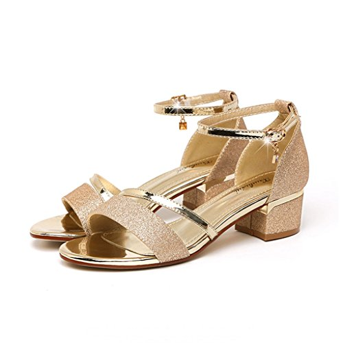 Sandals Mid Heel Women Summer Korean Rhinestone Open Toe Rough Heel Rome Shoes Gold 1S24kza