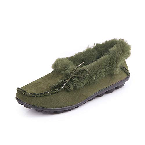 Warm Slip Fur Suede Olive Shoes Faux Moccasins Winter Flats Loafers Women On Slippers wgUqvXU