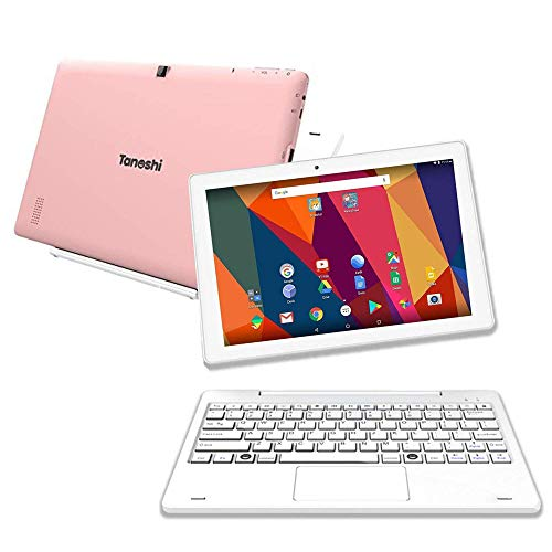 "Tanoshi 2-in-1 Android Computer for Kids Ages 6-12, 10.1"" HD Touchscreen Display, 32 GB, Educational, Parental Controls (Pink)"