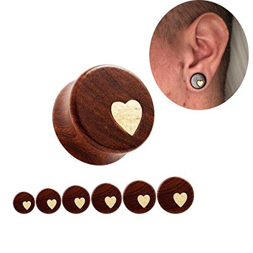 Heart Plugs - Bigbabybig Women Ear Plugs Tunnels 0g Body Piercing Jewelry for Man Heart Earrings Nature Red Sandal Wood