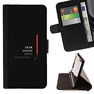 KingStore / Leather Etui en cuir / Samsung Galaxy S3 MINI 8190 / Enojo Miedo Hate