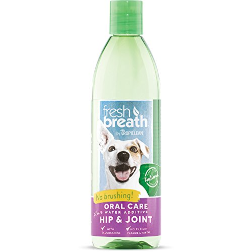 Fresh Breath by TropiClean Oral Care Water Additive Plus Hip and Joint for Pets, 16oz, Made in USA