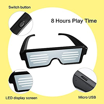 AX-BON LED Glasses,Rechargeable Toy Sunglasses can Work 8 Hours with 8 Animation Modes for Halloween Christmas and Various Parties(White): Toys & Games