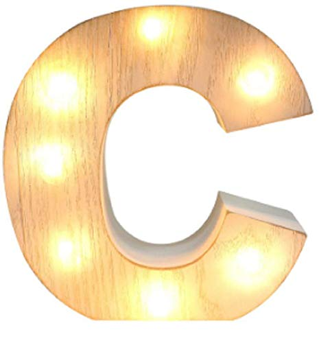 Light Up Letter C LED Whitewashed Wooden Alphabet Letters Lights for Festival Decorative Decor Christmas (Spell Joy, Peace, Noel, Candy, Love) Party,Wedding Monogram Initial (C)