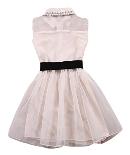 Lapel Single Women Mesh Tie White Comfy Bow Cocktail Breasted Splicing Dress 4tqXHnw